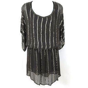 Arden B. silk sequin 20's inspired flapper dress